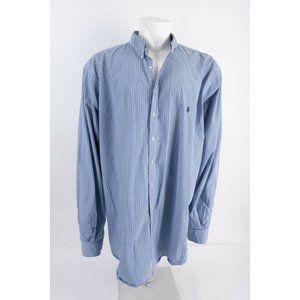 Ralph Lauren Mens Dress Shirt 4XLT Tall Blue White